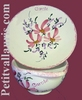 BOWL WITH HANDLES AND CUP PLATE PINK FLOWER DECORATION