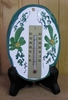 OVAL PLAQUE  WITH THERMOMETER GREEN FLOWER DECORATION