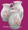 WATER JUG 1 LITER APPROXIMATELY PINK FLOWER DECOR