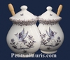MUSTARD POT JAR MODELE OLD MOUSTIERS BLUE DECORATION