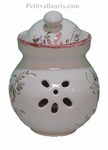 CERAMIC GARLIC POT PINK FLOWERS COLOR