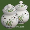 CERAMIC GARLIC POT GREEN FLOWERS COLOR