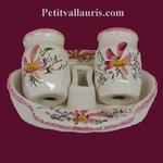 SALTCELLER , PEPPER POT AND SUPPORT PINK FLOWERS DECOR