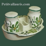 SALTCELLER , PEPPER POT AND SUPPORT GREEN FLOWERS DECOR