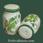 SALTCELLER & PEPPER POT GREEN FLOWERS DECORATION