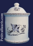 ROUND CHIMNEY POT SIZE 3 OLD MOUSTIERS BLUE DECORATION