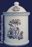 ROUND CHIMNEY POT SIZE 4 OLD MOUSTIERS BLUE DECORATION