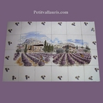 FRESQUE FAIENCE CHAMPS DE LAVANDES ET GRAPPES DE RAISIN