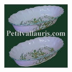 CERAMIC OVAL BASKET FOR BROAD OR FRUITS GREEN FLOWERS DECOR