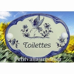 PLAQUE OVALE DE PORTE BLEUE INSCRIPTION TOILETTES