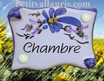 PARCHMENT DOOR PLAQUE BLUE FLOWERS BEDROOM INSCRIPTION