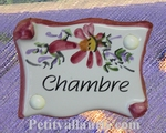 PARCHMENT DOOR PLAQUE PINK FLOWERS BEDROOM INSCRIPTION