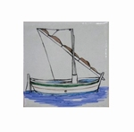 FISH BOAT WITH MAT DECOR ON TILE 10 X 10 CM