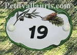 OVAL DOOR PLAQUE CICADA AND OLIVE DECOR WITH NUMBER