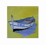 FISH BOAT DECOR ON TILE 10 X 10 CM YELLOW BACKGROUND