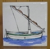 FISH BOAT WITH MAT DECOR ON TILE 10 X 10  YELLOW BACKGROUND