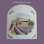 FRESCO CERAMIC TILES ROUNDED LAVENDERS FIELDS PAINTING