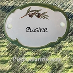 PLAQUE OVALE DE PORTE DECOR BRIN OLIVIER INSCRIPTION CUISINE
