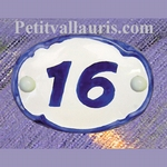 OVAL DOOR PLAQUE WITH BLUE CUSTOMIZED NUMBER