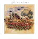 DECORATION TILE PROVENCE COTTAGE, POPPIES YELLOW BACKGROUND