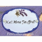 OVAL DOOR PLAQUE WITH CUSTOMIZED TEXT LAVANDER BRANCH DECOR