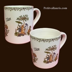 CHOPE-MUG EN FAIENCE AVEC INSCRIPTION MOTIF POLYCHROME