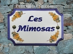 PLAQUE DE MAISON FAIENCE RECTANGLE DE STYLE DECOR MIMOSAS
