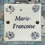 CERAMIC HOUSE PLAQUE MODEL OLD MOUSTIER BLUE TRADITION DECOR
