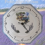 HORLOGE FAIENCE OCTOGONALE DECOR CALANQUES ET LAVANDES