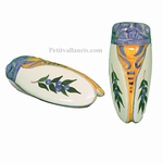 FAIENCE CICADA SIZE 3 PROVENCE DECORATING BLUES OLIVES
