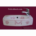 WASH HAND ULYSSE MODEL 25 x 41 OLD PINK MOUSTIERS DECORATION