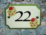 ENAMELLED STYLE HOUSE PLAQUE POPPY DECORATION