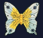 CERAMIC BUTTERFLY TO WALL FIX YELLOW AND BLUE SKY