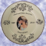 BIRTHDAY MARRIAGE PLATE PORCELAIN BLUE MODEL + PHOTO INSIDE