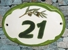 OVAL DOOR PLAQUE WITH NUMBER OR TEXT AND OLIVES PAINT