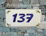 HOUSE PLAQUE RECTANGLE MODEL OLIVES PAINT BLUE NUMBER
