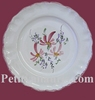 DESSERT PLATE STYLE MODEL PINK FLOWERS PAINT