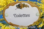 PLAQUE OVALE DE PORTE DECOR MIMOSAS INSCRIPTION TOILETTES