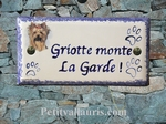 PLAQUE MAISON FAIENCE RECTANGLE DECOR YORKSHIRE TEXTE BLEU