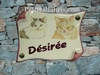 HOUSE PLAQUE PARCHMENT SMALL MODEL TWO CAT PAINTING
