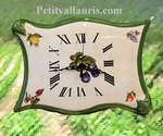 HORLOGE MODELE PARCHEMIN DECOR FRUITS FOND JAUNE-PAILLE