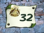 HOUSE ADDRESS PLAQUE SMALL PARCHMENT MODEL PARTRIDGE PICTURE