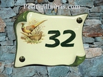 HOUSE ADDRESS PLAQUE SMALL PARCHMENT PHEASANT PICTURE