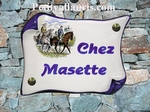 HOUSE ADDRESS PLAQUE SMALL PARCHMENT MODEL HORSEMAN PICTURE