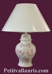 FAIENCE LAMP CHINESE MODEL PINK MOUSTIERS TRADITION DECO
