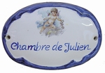 OVAL DOOR PLAQUE BLUE ANGEL DECOR CUSTOMIZED TEXT