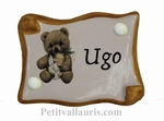 DOOR PLAQUE PARCHMENT MODEL BEAR DECOR WITH INSCRIPTION