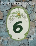 OVAL DOOR PLAQUE WITH NUMBER AND GREEN FLOWERS DECOR