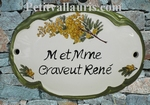CUSTOMIZED OVAL DOOR PLAQUE MIMOSAS DECOR