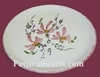 FAIENCE PLATE MODEL FLOWERS PINK PAINT DECORATION